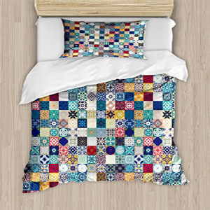 Ambesonne Moroccan Duvet Cover Set Twin Size, Oriental Eas