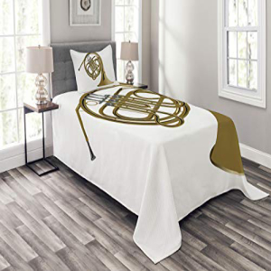 Lunarable Music Bedspread Set Twin Size, French Horn Brass