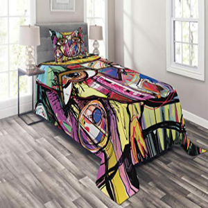 Lunarable Abstract Coverlet Set Twin Size, Digital Paintin