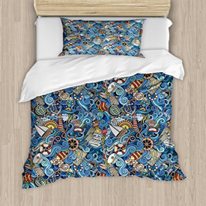 Ambesonne Nautical Duvet Cover Set Twin Size, Abstract Pat