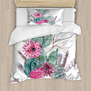 Ambesonne Cactus Duvet Cover Set Twin Size, Exotic Natural