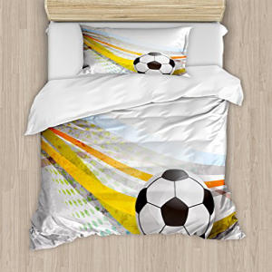 Ambesonne Teen Room Duvet Cover Set Twin Size, Soccer Back