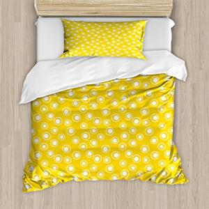 Ambesonne Yellow and White Duvet Cover Set Twin Size, Whit