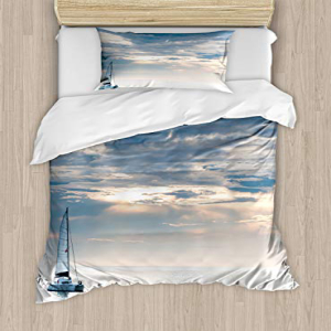 Ambesonne Nautical Duvet Cover Set Twin Size, Sailing Yach