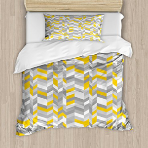 Ambesonne Grey and Yellow Duvet Cover Set Twin Size, Geome