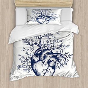 Ambesonne Surrealistic Duvet Cover Set, Human Heart Bloomi