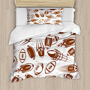 Ambesonne Football Duvet Cover Set Twin Size, Retro Comicb