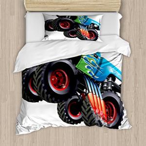 Ambesonne Cars Duvet Cover Set, Cartoon Monster Truck Cool