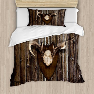 Ambesonne Antler Duvet Cover Set Twin Size, Rustic Home Co
