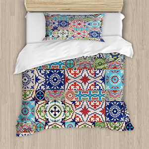 Ambesonne Moroccan Duvet Cover Set, Patchwork Pattern from
