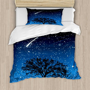 Lunarable Star Duvet Cover Set Twin Size, Lonely Tree with