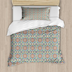 Ambesonne Geometric Duvet Cover Set Twin Size, Spanish Cul