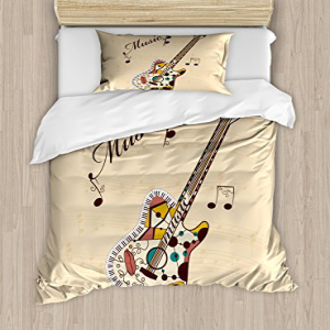 Ambesonne Guitar Duvet Cover Set, Abstract Funky Guitar In