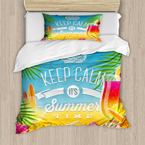 Ambesonne Beach Duvet Cover Set Twin Size, Its Summer Time