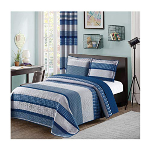 Blue and Gray Modern Plaid 3-Piece Queen Bedspread and Pil