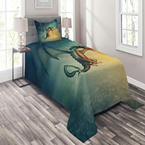 Lunarable Fantasy Coverlet Set Twin Size, Legendary Dragon