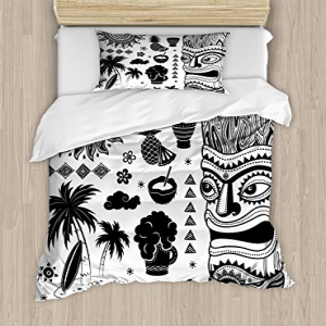 Ambesonne Tiki Bar Duvet Cover Set, Composition Palms Pine