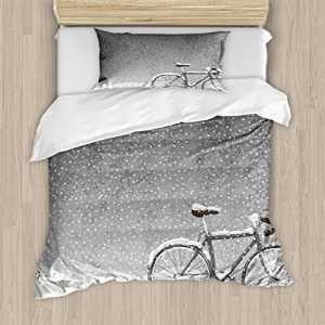 Ambesonne Winter Duvet Cover Set Twin Size, Bicycle Covere