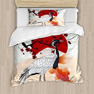 Lunarable Koi Fish Duvet Cover Set Twin Size, Japanese Cul