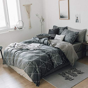 HIGHBUY Premium Cotton Full Bedding Sets Grey 3 Piece for