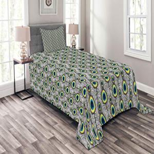 Lunarable Peacock Bedspread Set Twin Size, Peacock Tail Fe