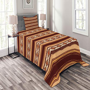 Ambesonne Native American Bedspread Set Twin Size, Native