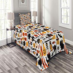 Lunarable Halloween Bedspread Set Twin Size, Halloween Ico