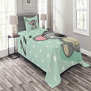 Lunarable Koala Bedspread Set Twin Size, Sleepy Stuffed Ko