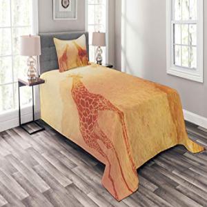 Ambesonne Safari Bedspread Set Twin Size, Illustration Tro