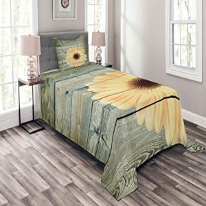 Lunarable Sunflower Bedspread Set Twin Size, Rustic Wooden