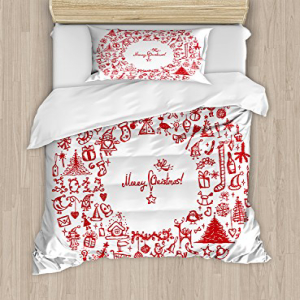 Ambesonne Christmas Duvet Cover Set Twin Size, Vintage Mer