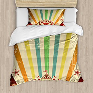 Ambesonne Vintage Rainbow Duvet Cover Set, Old Circus Carni