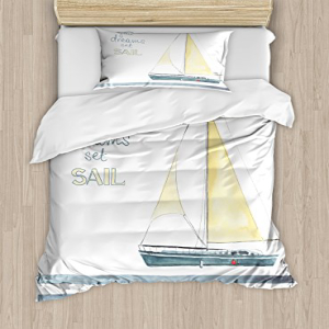 Ambesonne Nautical Duvet Cover Set Twin Size, Let Your Dre