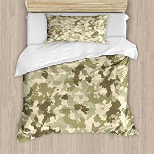 Ambesonne Camo Duvet Cover Set Twin Size, Old Fashioned Ca