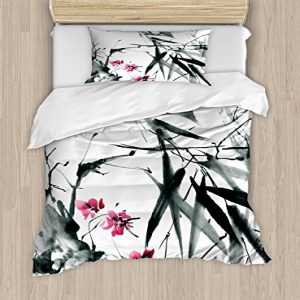 Ambesonne Japanese Duvet Cover Set Twin Size, Natural Sacr