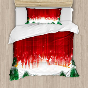 Ambesonne Christmas Duvet Cover Set Twin Size, Blurry Xmas