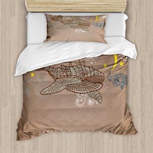 Ambesonne Whale Duvet Cover Set, Steampunk Whale Flying in
