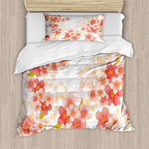 Ambesonne Floral Duvet Cover Set Twin Size, Japanese Sakur