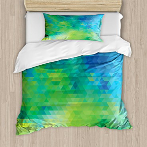 Ambesonne Green and Blue Duvet Cover Set Twin Size, Geomet