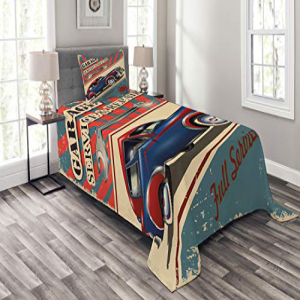 Lunarable Man Cave Bedspread Set Twin Size, Vintage Garage