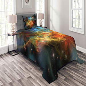 Ambesonne Outer Space Bedspread Set Twin Size, Princess Ne