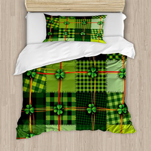 Ambesonne Irish Duvet Cover Set Twin Size, Patchwork Style
