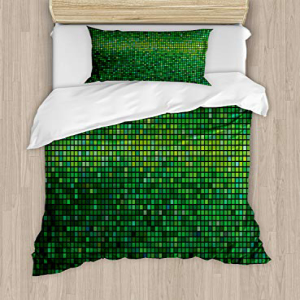Ambesonne Green Duvet Cover Set Twin Size, Abstract Vibran