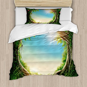 Ambesonne Tree Duvet Cover Set, Enchanted Forest in Spring