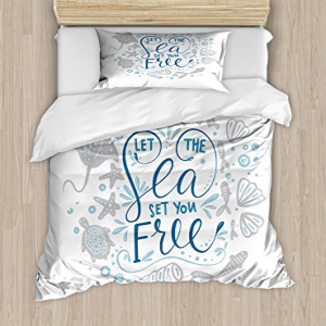 Ambesonne Nautical Duvet Cover Set、Let the Sea Set You Fre