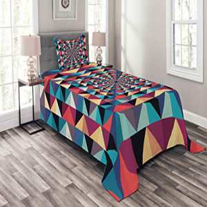 Ambesonne Contemporary Bedspread Set Twin Size, Modern Sty