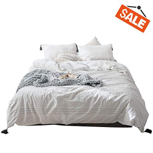 VClife Tassel Cotton Bedding Sets -Full/Queen White Gray G