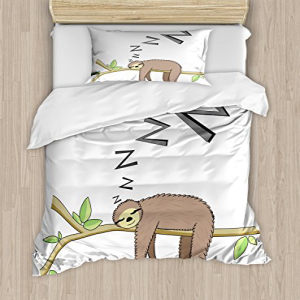 Ambesonne Sloth Duvet Cover Set、Arboreal Mammal Sleeping o