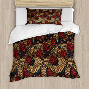 Ambesonne Asian Duvet Cover Set Twin Size, Traditional Anc