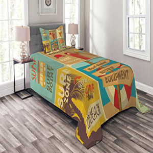 Lunarable Surf Bedspread Set Twin Size, Retro Posters Comp